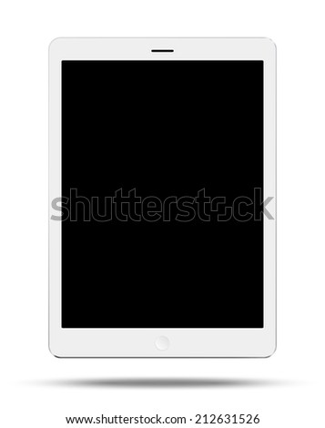 Vector white tablet pc on white background - stock vector