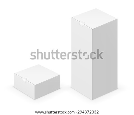 Vector white tall folded box with lock design template. Illustration on white background - stock vector