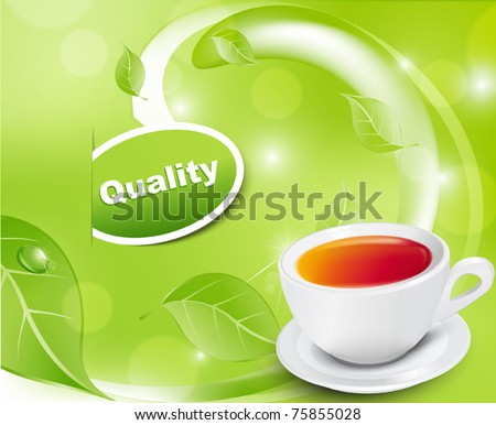 Vector white tea cup with the leaves on a green background - stock vector