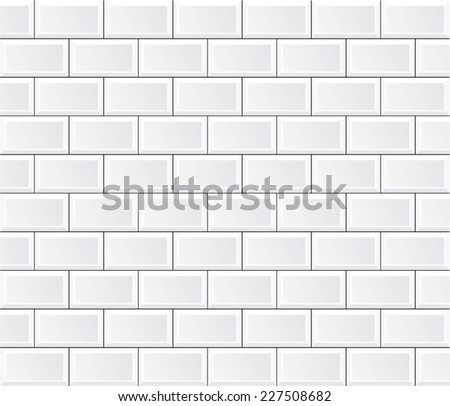 vector white tile wall - stock vector