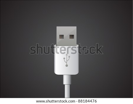 Vector white usb cable - stock vector