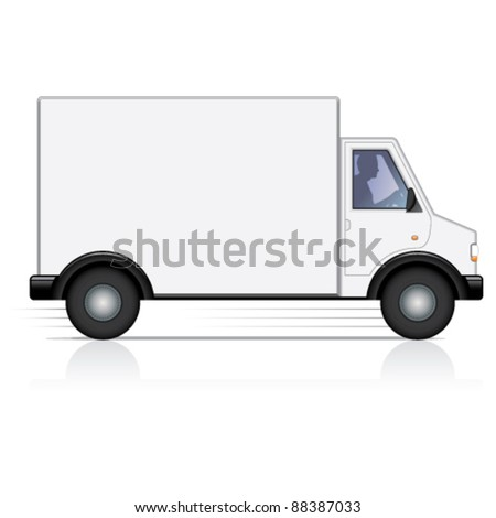 Vector white van and man driver. Isolated. - stock vector