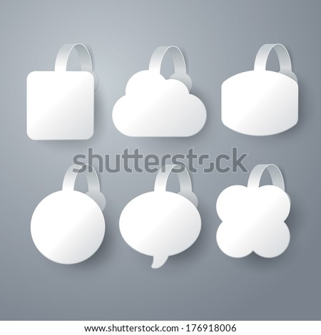 Vector white wobbler set  on gray background set 1. - stock vector