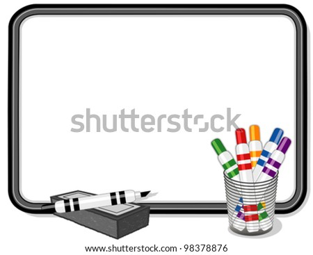 vector - Whiteboard, multicolor marker pens, eraser. Copy space to add your own text, notes or drawings for home, school, office, business projects. EPS8 compatible. - stock vector