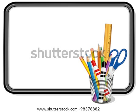 vector - Whiteboard, Office and Art Supplies: pens, pencils, scissors, ruler. Copy space to add your own text, notes or drawings for home, school, office, business projects. EPS8 compatible. - stock vector