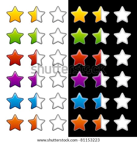 vector whole half and blank rating stars - stock vector