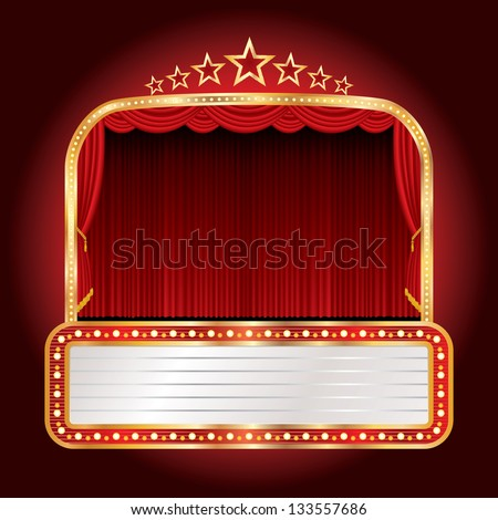 vector wide stage with seven stars and blank billboard - stock vector