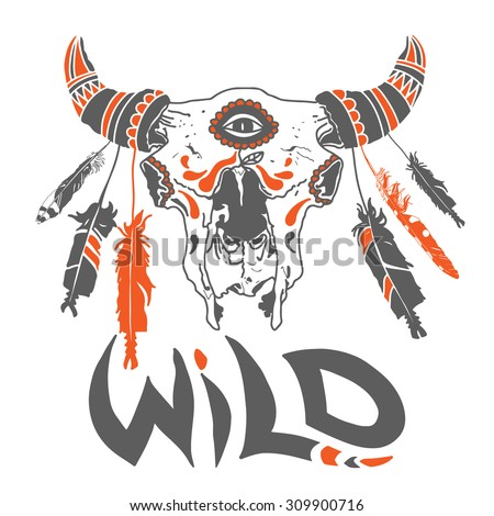 Vector wild bull skull illustration with feathers. Ornate tattoo design element - stock vector