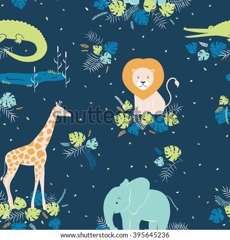 Vector wildlife seamless pattern with tropical animals, elephant, crocodile, lion, giraffe - stock vector