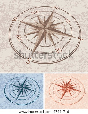 vector wind roses with stone texture - stock vector
