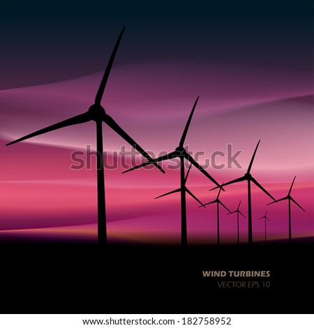 Vector wind turbines - stock vector