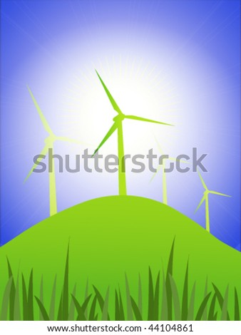 Vector wind turbines on hillside with bright sunshine