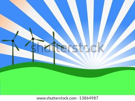 Vector. Wind turbines on sunrise - stock vector