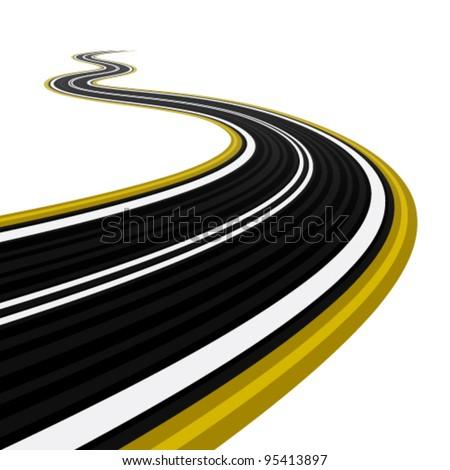 vector winding road - stock vector