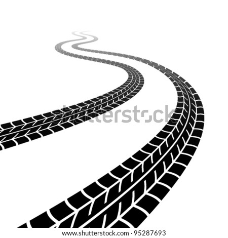 vector winding trace of the tyres - stock vector