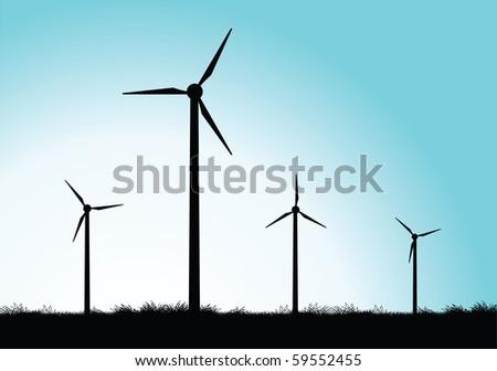 vector windmills - stock vector