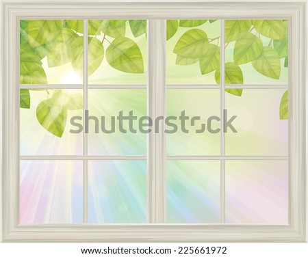 Vector window with spring view green leaves on sunny background. - stock vector