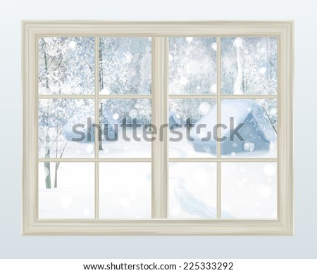 Vector window with  view of snowy background. - stock vector
