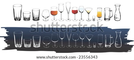 Vector wine and cognac glasses - stock vector