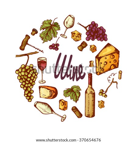 Vector wine elements. Hand drawn vector icons - stock vector