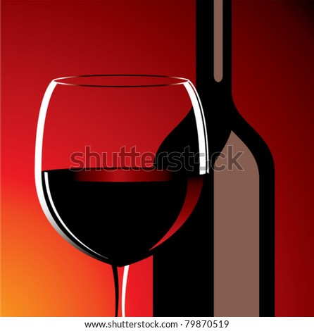 vector wine glass and bottle - stock vector