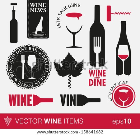 Vector wine labels and concepts - stock vector
