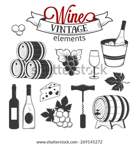 Vector wine set of vintage elements isolated on white background - stock vector