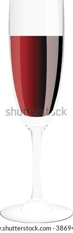 vector wineglass with red wine on white