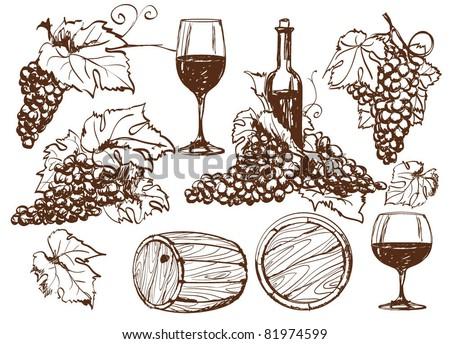 Vector winery design elements set. - stock vector