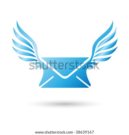 Vector Winged Mail Envelope - stock vector