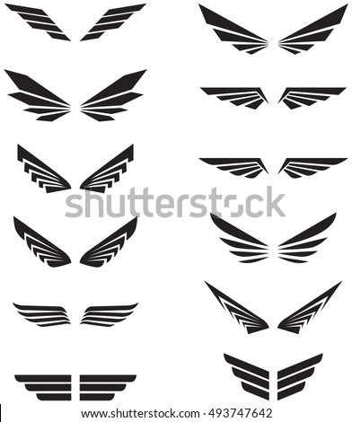 Vector wings logo set. Winged logo company and icon wing flying,