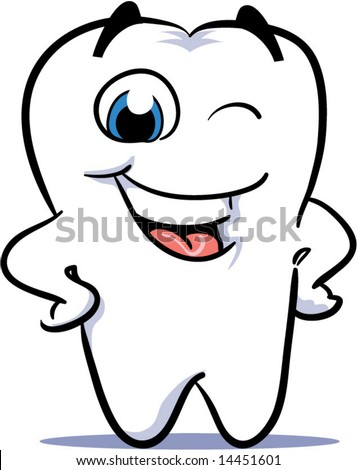 vector winking happy smiling tooth - stock vector