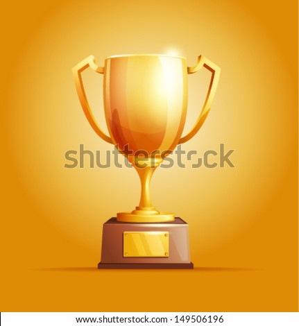 Vector winner cup light background - stock vector