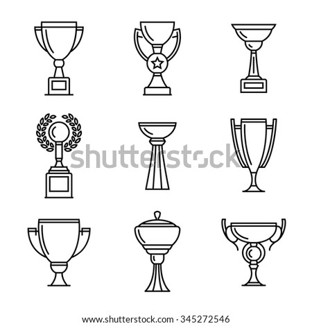 Vector winner cup. Trophy line icons set.