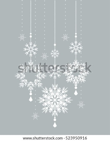 Vector winter background with beautiful various snowflakes, Christmas decoration