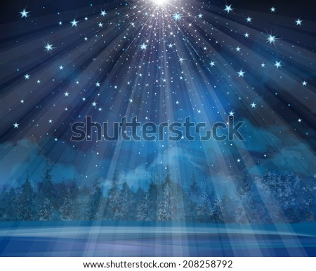 Vector winter background with lights and stars. - stock vector