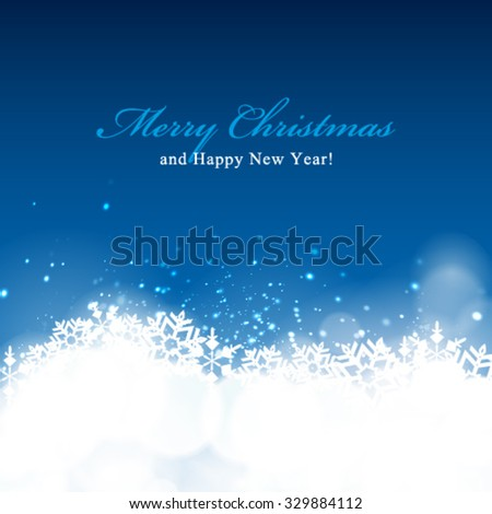 Vector winter bokeh background. Holiday background. - stock vector