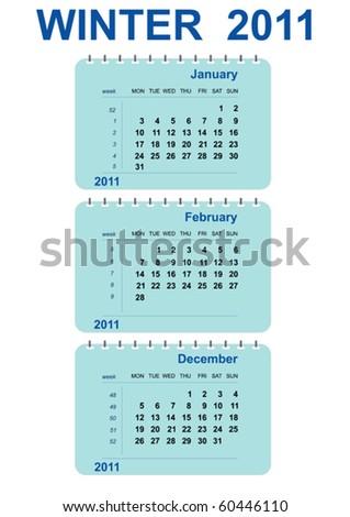vector winter calendar 2011 - stock vector
