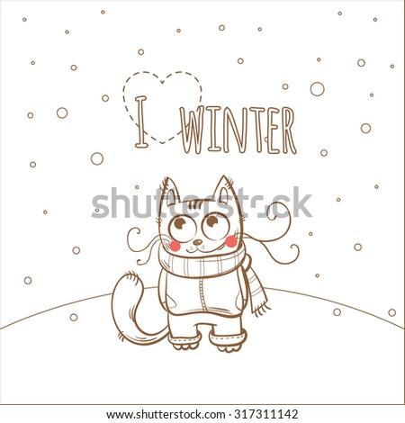 Vector winter card with cartoon kitten in  clothes. - stock vector