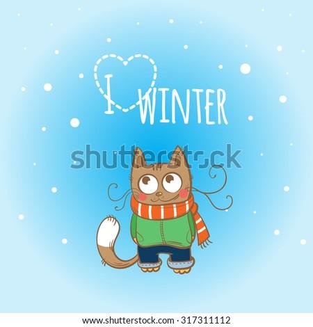 Vector winter card with cartoon kitten in winter clothes. - stock vector