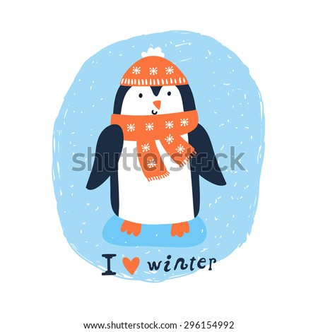 """Vector winter card with cute smiling penguin. Beautiful illustration with funny cartoon character wearing a hat and a scarf. Childish background with text """"I love winter"""" - stock vector"""