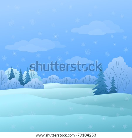 Vector, winter christmas landscape: forest with coniferous and deciduous trees and snow