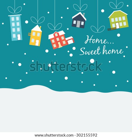 Vector winter concept in flat style.Cute winter houses, covered with snow, hanging on a thread, like Christmas balls. Christmas sales  - stock vector