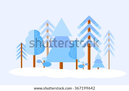 Vector winter forest with trees under snow. Flat line style. Isolation over background