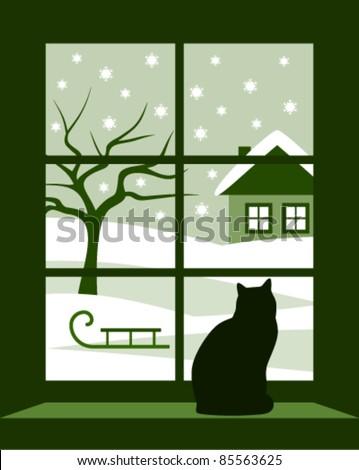 vector winter landscape outside the window - stock vector