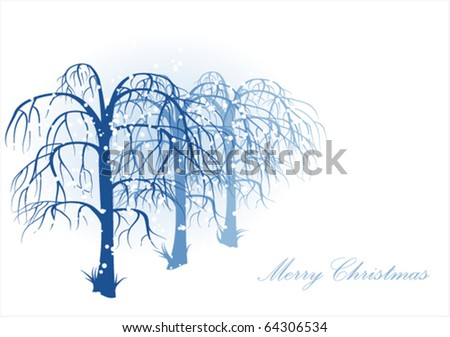 Vector winter landscape with white snowflakes and trees. - stock vector