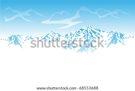 vector Winter mountains - stock vector