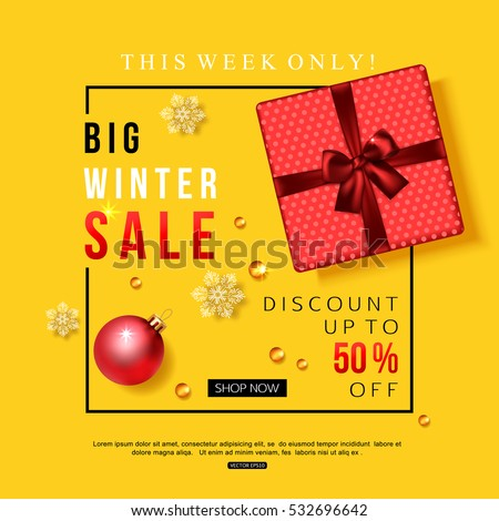 Vector winter sale banner with red gift box and Christmas decoration. Top view.