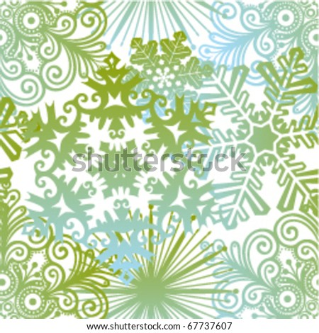 vector winter seamless background with snowflakes - stock vector