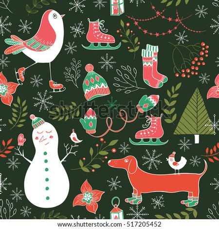 Vector winter seamless pattern.Cute hand drawn winter elements for greeting cards, postcards, wrapping paper, silhouette. Design set for winter holidays, christmas decoration.